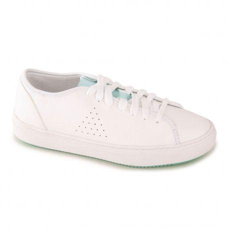 basket cuir blanche femme