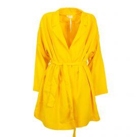 Veste longue ceinturée jaune Femme AMERICAN VINTAGE marque pas cher prix dégriffés destockage