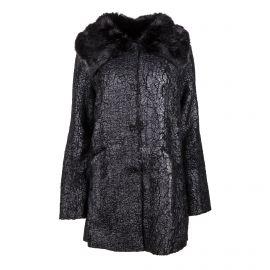 Manteau noir col fausse fourrure Femme GUESS