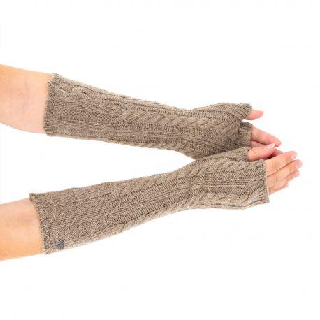 Mitaines longues en laine beige Femme GUESS marque pas cher prix dégriffés destockage