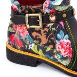 Bottines noires cuir motif fleurs Cocralieo 04 Femme LAURA VITA marque pas cher prix dégriffés destockage