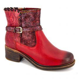 Bottine gicrono 01 rouge cuir slx2-1 t36-41 Femme LAURA VITA
