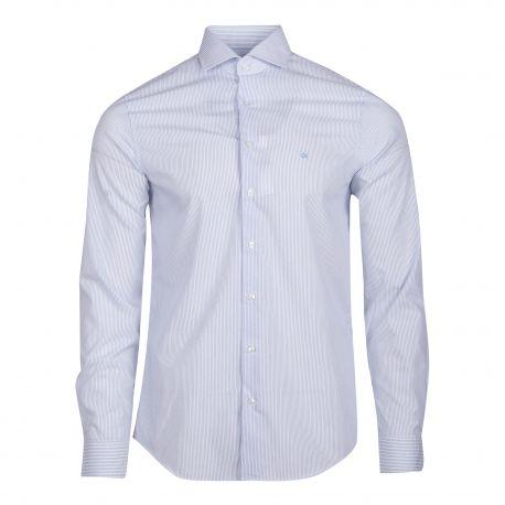 Chemise cintrée blanche à rayures manches longues Homme CALVIN KLEIN marque pas cher prix dégriffés destockage
