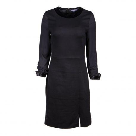 Robe noire manches longues Femme TOMMY HILFIGER marque pas cher prix dégriffés destockage