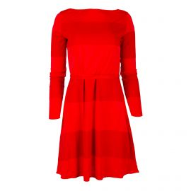 Robe rouge à rayures manches longues Femme TOMMY HILFIGER