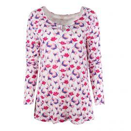 Tee shirt blanc à fleurs Femme TOM TAILOR marque pas cher prix dégriffés destockage