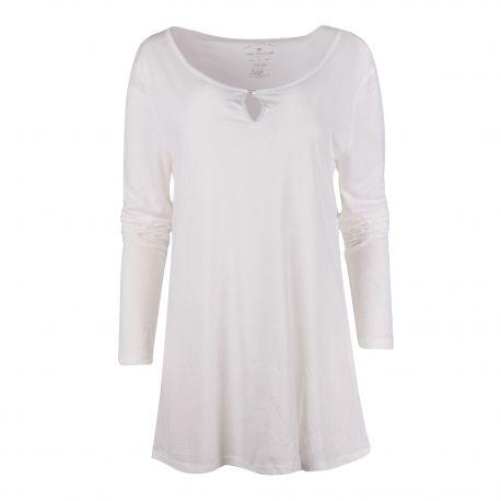 Tee shirt long blanc manches longues Femme TOM TAILOR marque pas cher prix dégriffés destockage