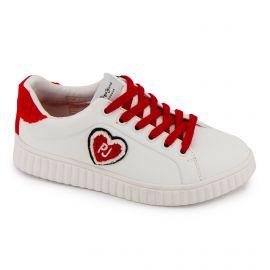 Baskets blanches à lacets rouges Enfant PEPE JEANS marque pas cher prix dégriffés destockage
