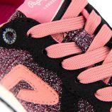 Baskets noir/rose à paillettes Enfant PEPE JEANS marque pas cher prix dégriffés destockage