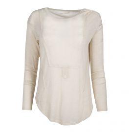 Tee-shirt beige côtelé manches longues Femme ZADIG & VOLTAIRE marque pas cher prix dégriffés destockage