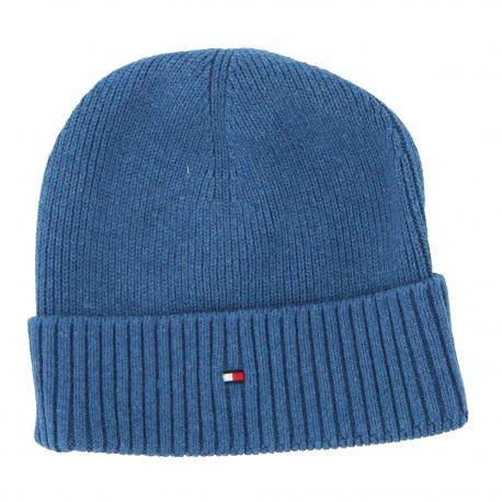 Bonnet bleu côtelé homme TOMMY HILFIGER marque pas cher prix dégriffés destockage
