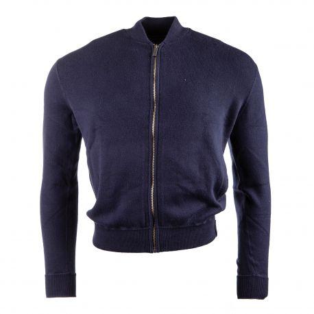 Gilet court manches longues maille de coton doux zippé Homme CALVIN KLEIN marque pas cher prix dégriffés destockage