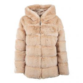 Manteau court avec capuche beige zippe 19209 Femme EMERAUDE marque pas cher prix dégriffés destockage