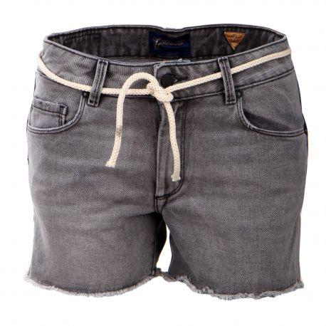 Short lavé frangé cordon taille Femme MADEMOISELLE GARÇONNE marque pas cher prix dégriffés destockage