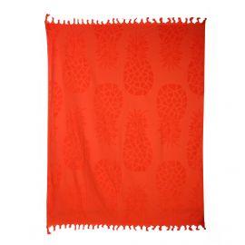 Fouta rouge motif ananas 140x180cm doublée éponge COMPTOIR DE LA PLAGE marque pas cher prix dégriffés destockage