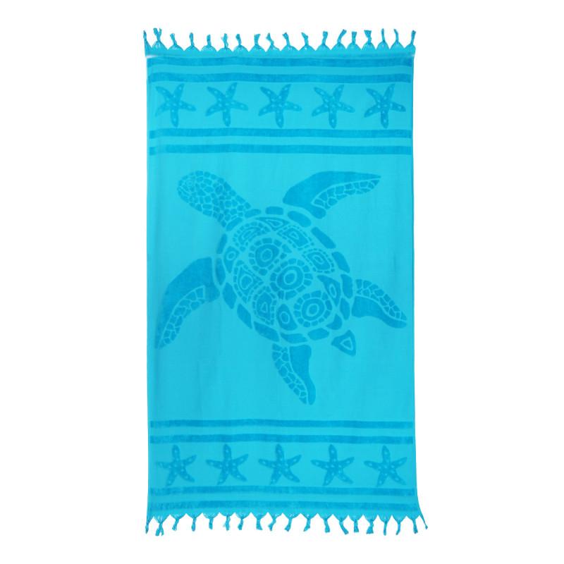 Fouta bleue motif tortue 90x160cm doublée éponge 420mg COMPTOIR DE LA PLAGE marque pas cher prix dégriffés destockage