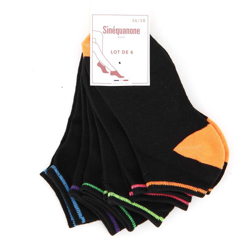 Socquettes x6 paires sacra Femme SINEQUANONE marque pas cher prix dégriffés destockage