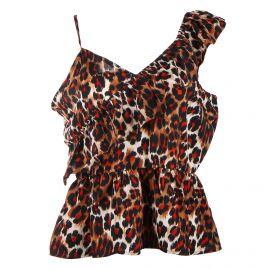 Haut One shoulder volant léopard Femme CARE OF YOU marque pas cher prix dégriffés destockage