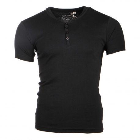 Tee shirt manches courtes theo côtelé jeu de col tunisien boutonné Homme BLAGGIO marque pas cher prix dégriffés destockage