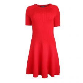 Robe manches courtes jeu de maille bicolore épaule Femme TOMMY HILFIGER marque pas cher prix dégriffés destockage