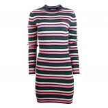 Robe manches longues maille chaussette rayure multicolore Femme TOMMY HILFIGER