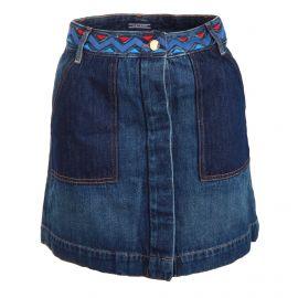 Jupe jean taille brodée poches bicolores femme TOMMY HILFIGER marque pas cher prix dégriffés destockage