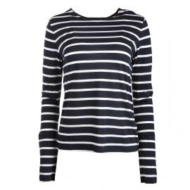 Tee shirt manches longues marinière rayée noeud poignet Femme TOMMY HILFIGER marque pas cher prix dégriffés destockage