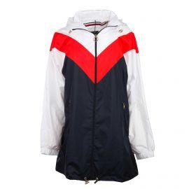 Veste coupe vent tricolore zippée capuche Femme TOMMY HILFIGER marque pas cher prix dégriffés destockage