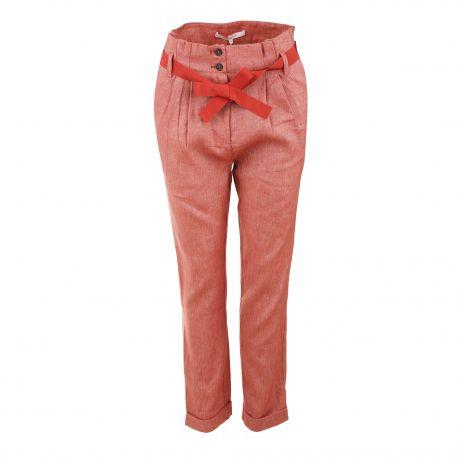 Pantalon lin taille haute ceinture noeud Femme LA FEE MARABOUTEE marque pas cher prix dégriffés destockage