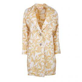 Manteau droit oversize jacquard fleurs 2 poches Femme LA FEE MARABOUTEE marque pas cher prix dégriffés destockage
