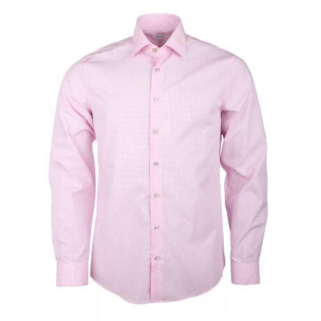 Chemise manches longues ajustée coton doux à carreaux Homme CALVIN KLEIN marque pas cher prix dégriffés destockage