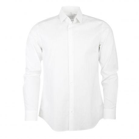 Chemise manches longues slim coton stretch rayée pois Homme CALVIN KLEIN marque pas cher prix dégriffés destockage