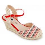 Sandales compensées rayées toile légère semelle corde boucle Femme MTNG