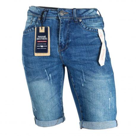 Bermuda jean coton stretch destroy poches griffées revers gansé Bradley Homme PANAME BROTHERS marque pas cher prix dégriffés ...