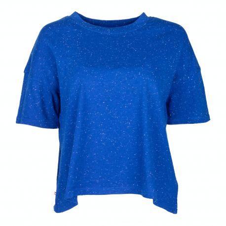 Tee shirt manches courtes coton doux BCI chiné boxy Femme TOMMY HILFIGER marque pas cher prix dégriffés destockage