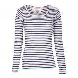 Tee shirt manches longues coton doux BCI rayé marinière tag brodé Femme TOMMY HILFIGER