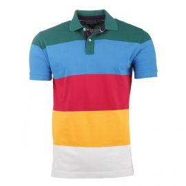 Polo manches courtes coton doux piqué rayures multicolore Homme TOMMY HILFIGER marque pas cher prix dégriffés destockage