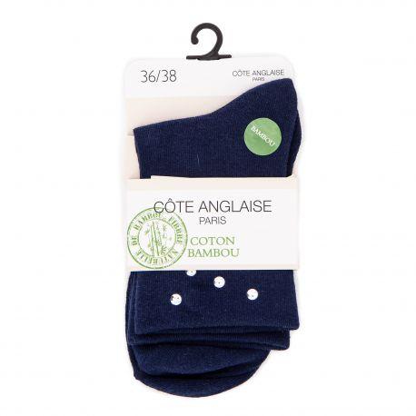 Chaussettes Dominica Argent coton bambou Femme COTE ANGLAISE marque pas cher prix dégriffés destockage