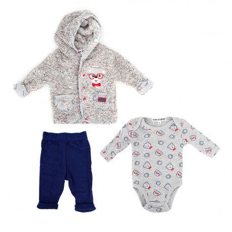Ensemble 3 pieces layette 1k1562 t1-12 mois Enfant TOM & KIDDY marque pas cher prix dégriffés destockage