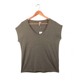 Tee shirt sans manche strech col V rayures métallisées Femme SELECTED marque pas cher prix dégriffés destockage
