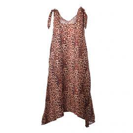 Robe sans manche légère coton doux noeud imprimé léopard Femme SELECTED marque pas cher prix dégriffés destockage