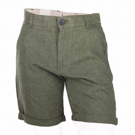 Short droit léger coton lin bas revers Homme SELECTED marque pas cher prix dégriffés destockage
