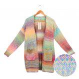 Gilet long manches longues coton doux col châle rayure chiné multicolore poche Femme BEST MOUNTAIN
