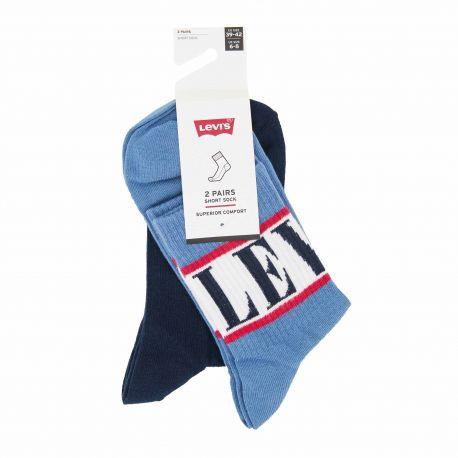 Lot de 2 paires de chaussettes courtes jacquard confort coton doux stretch renfort talon orteil Homme LEVI'S marque pas cher ...