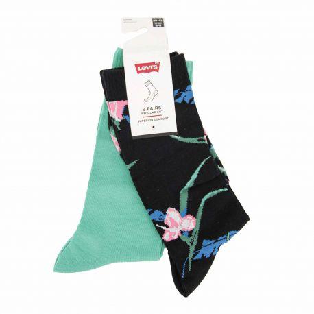 Lot de 2 paires de chaussettes jacquard fleur confort coton doux stretch renfort talon orteil Homme LEVI'S marque pas cher pr...