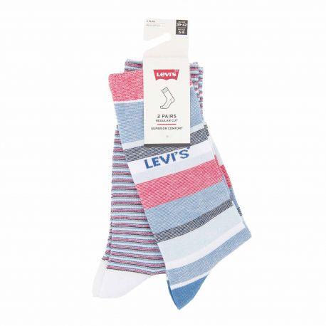 Lot de 2 paires de chaussettes rayées confort coton doux stretch renfort talon orteil Homme LEVI'S marque pas cher prix dégri...