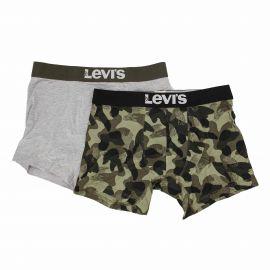 Lot de 2 boxers kaki/grey Homme LEVI'S marque pas cher prix dégriffés destockage