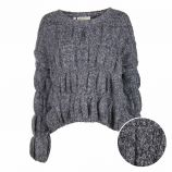 Pull manches longues mohair chiné fronce Femme CARE OF YOU