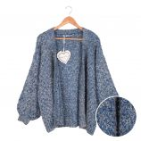 Gilet long manches longues mohair laine chiné tweed Femme CARE OF YOU