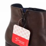 Bottines à talon cuir lisse grainé contrasté zip Femme DORKING marque pas cher prix dégriffés destockage